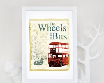 Children's Art Print - Wheels on the Bus - 8x10 - Navy and Red Nursery Rhyme Art, London Art
