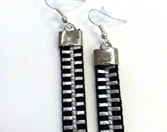 Chunky Zipper Dangle Earrings: Black