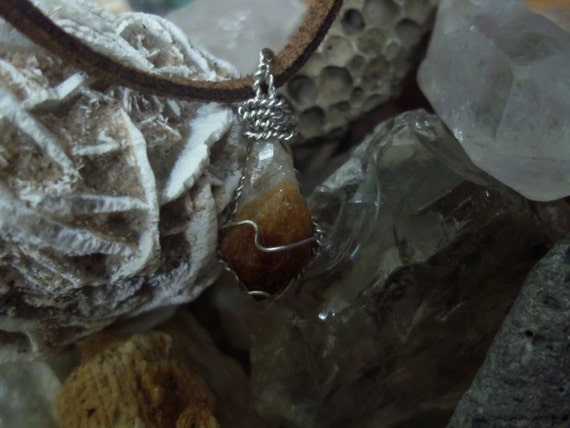Small Natural Raw Citrine Necklace (Potion Bottle)