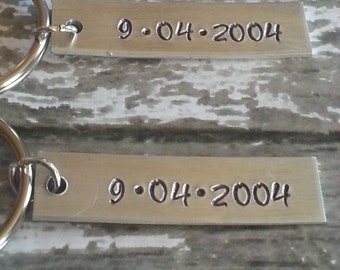 Couples key chain set, hand stamped, tag key chains, Set of two key chains, anniversary, wedding date, date to remember
