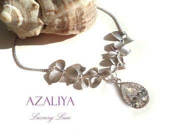 Bridal Necklace Wild Orchid Princess Zirconia in Silver. April Birthstone. Azaliya Luxury Line. Bridal, Bridesmaids Gift.