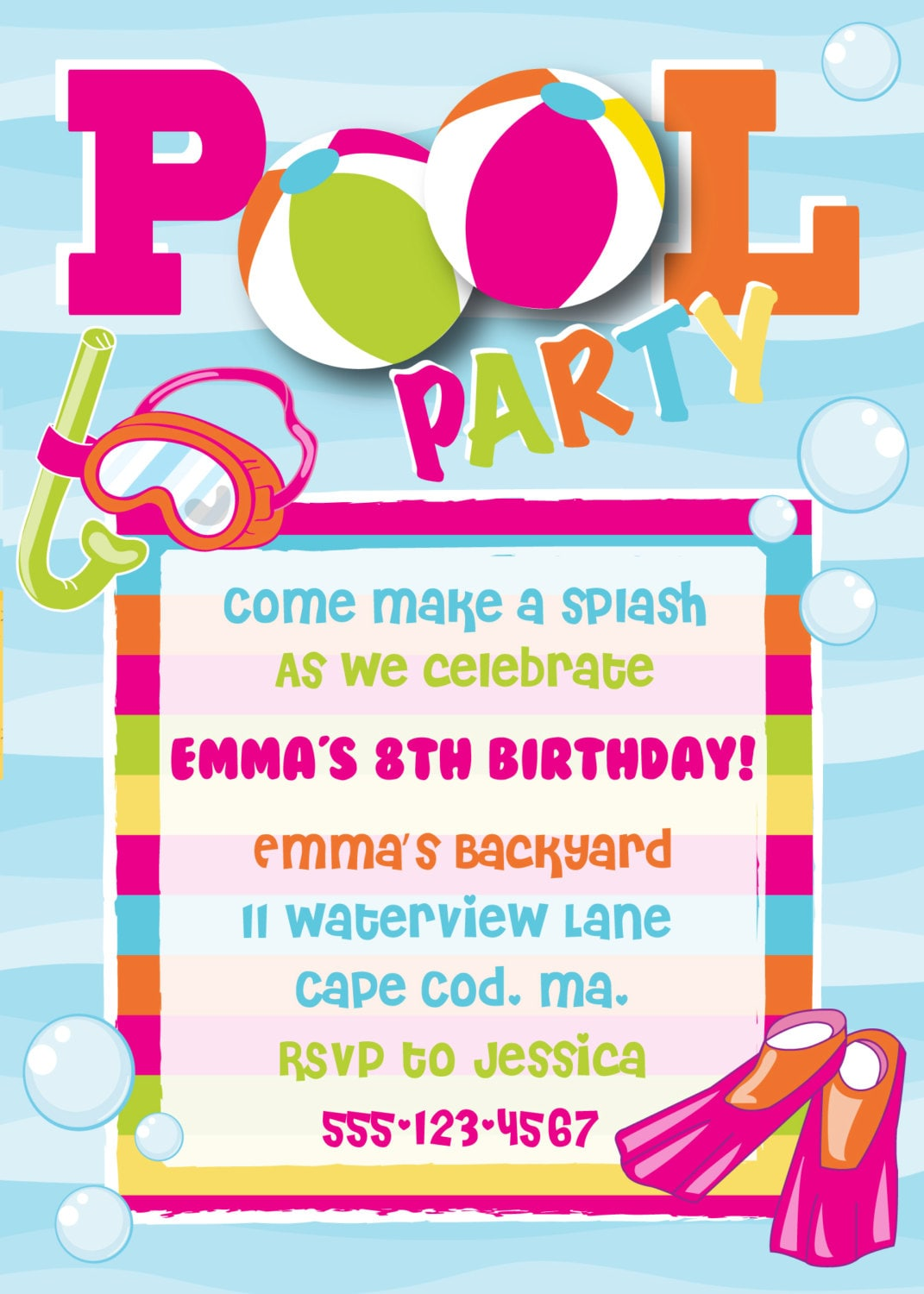 Birthday Pool Party Invitations could be nice ideas for your invitation template