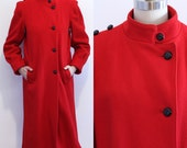 1980s Red Coat // Military Style Coat // Red Dress Coat