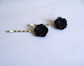 Silver Plated Black Rose Hair Clips