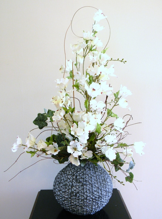 Tall Floral Arrangement Silk Flower Arrangement Home Decor