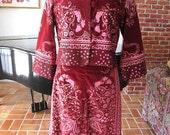 HUNGRY PALETTE Suit // Stonington, CT // Hand screened Velvet // fits M // Vintage skirt, jacket ensemble