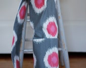 CLEARANCE** Ready to Ship - Gray and Pink Ikat Yoga Mat Bag with Drawstring and Extra-Deep Pockets
