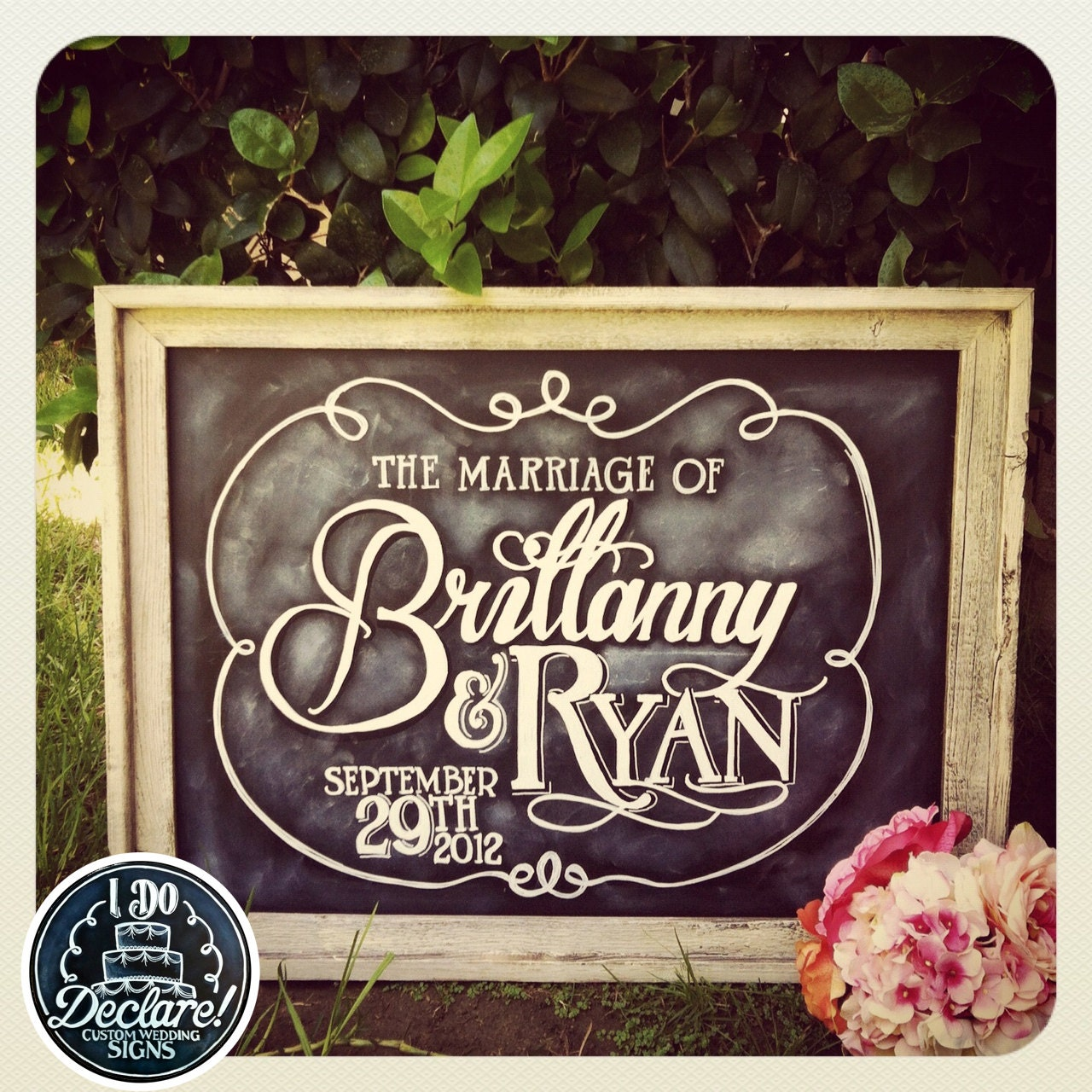 Wedding Chalkboard: Shabby Chic Custom Wedding Chalkboard Art