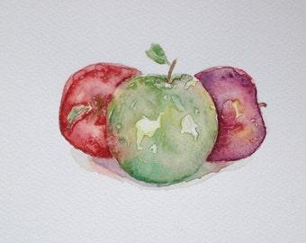 Original Watercolor Still Life Painting 'Apples' wall decor,kitchen decor,wall hanging