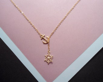 Nautical lariat necklace, nautical necklace , gold nautical lariat , anchor necklace , sailor necklace
