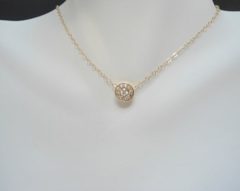 Crystal round pendant , cubic zirconia pendant gold , christmas gift for wife, tiny stone necklace , everyday wear necklace