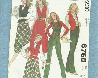 1979 McCalls 6760 Peplum Vest with Shawl Collar Bias Cut Flared Skirt and Straight Leg Pants Size 14 UNCUT