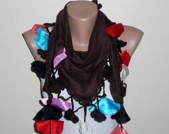 brown scarf multicolor cotton scarf oya scarf women accessories trendy scarf fashion scarf gift for her