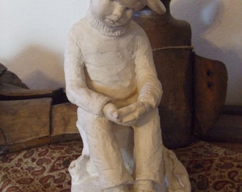 """Vintage Statue """"Bright Eyes"""" by Austin Proding 1981 He is 11 1/2"""" tall base measures 7 1/2"""" X 5 1/4"""""""