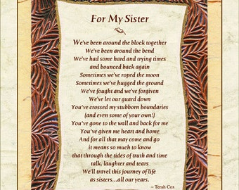 FOR MY SISTER (8x10 - Sister, Friend)