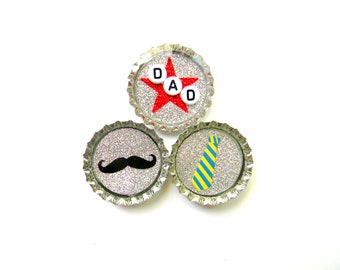 Bottle Cap Magnets - Fathers Day - Set of 3