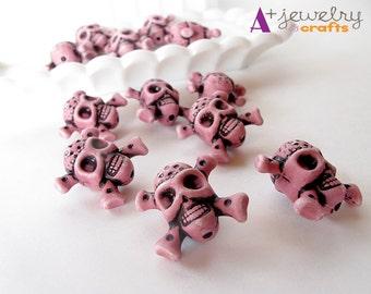 Pink beads, skull beads, skeleton, pirate medallion, pirate beads, skull and crossbones, jewelry supplies, beading supplies, fun.