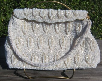 Reduced From 38.00 1950's Hong Kong Beaded White Seed Purse/Clutch