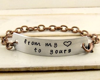 From My Heart To Yours, Hand Stamped Bracelet, Mother's Day Gift
