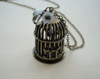 Birdcage charm necklace vintage inspired antique bronze, white beads & flowers