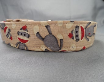 Tan Sock Monkey Dog Collar