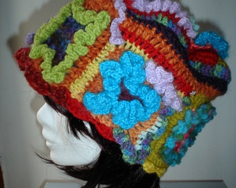 multicolor freeform crochet cloche hat handmade,wool hat,gift ideas
