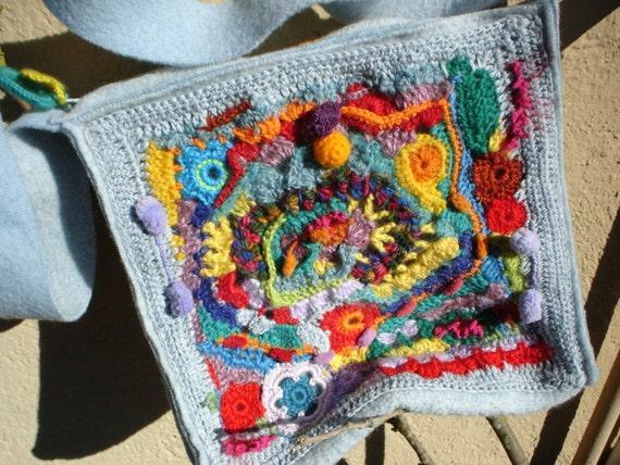 Crochet Wool Bag : freeform crochet bag,felt purse, wool felt and crochet bag