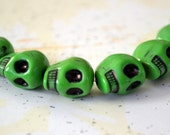 Green Skull Beads, Day of the Dead 12x5mm 7 Beads