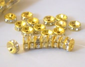 Clear Crystal Rhinestone Rondelles Spacer Beads Gold Tone Inside 6mm 25 Beads