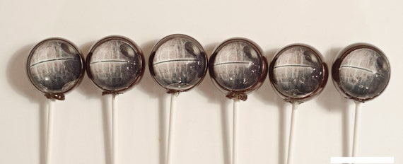 6 Death Star Lollipops  is 1.5 inches.