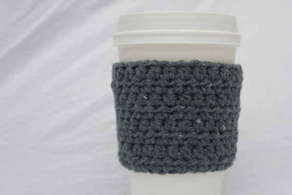 Recycled Denim Cup Sleeve, Recycled Crochet Cup Cozy, Recycled Cup Cosy