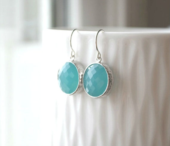 Turquoise Glass Stone Silver Earrings - Simple Modern Everyday Dangle Earrings