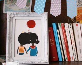 Children's illustration Print. Black Children's Print