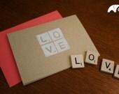 Whimsical Love Card - Scrabble Tiles