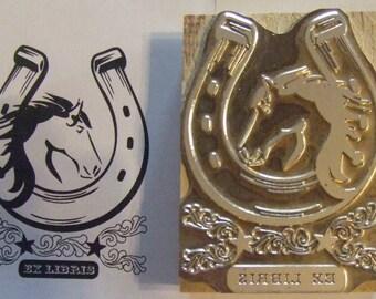 """Bookplate """"Horse head in Horse Shoe"""" Letterpress Printing Block - Letterpress Blocks - Print Blocks - Mounted Letterpress Block"""