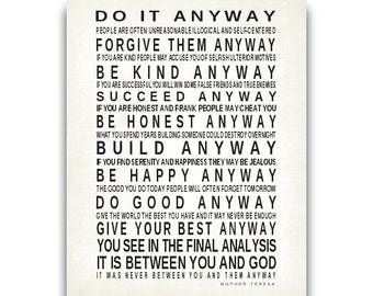 Do It Anyway Quote by Mother Teresa Print Christian Gift Typography Art Inspirational Subway Sign Motivational Poster Modern Vintage SALE