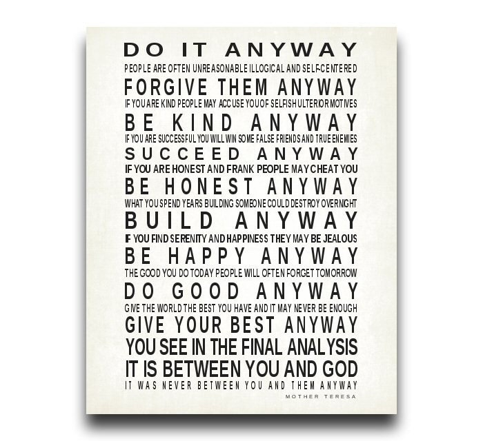 Do It Anyway Quote By Mother Teresa Print Christian Gift