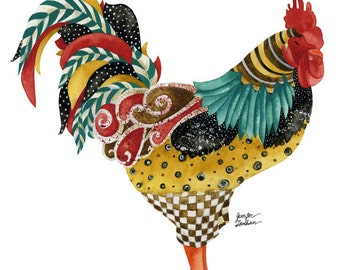 Art Print. Rooster Mardi. White Background