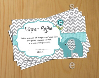 Teal Elephant Baby Shower Diaper Raffle Ticket Diaper Raffle Card Diapers Raffles Printable Digital Files  (57)