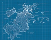 Boston Artistic Blueprint Map - MapHazardly