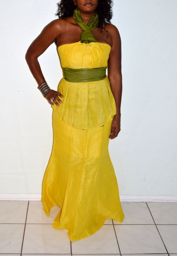 Strapless Yellow Linen Two Piece Dress Yellow Long Formal Two
