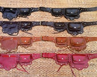 Steampunk Utility Belt | Leather Belt Bag | Burning Man Belt | Purse Belt | Belt with Pockets | Iphone 7 | Hip Bag | Festival - The Lotus
