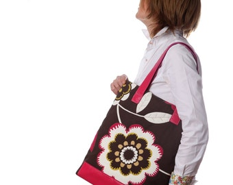 Cotton Leather Tote. Fuchsia / brown tote. Quilted tote bag.Cotton canvas bag.