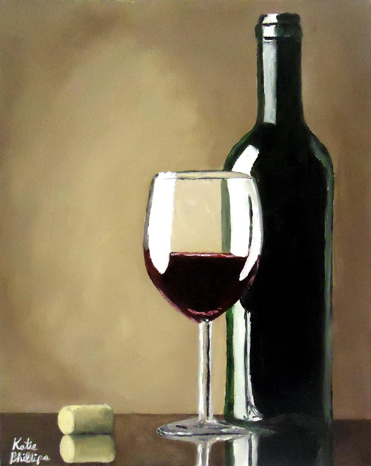 Wine bottle and wine glass signed print by katiephillipsart for What kind of paint to use for wine bottles