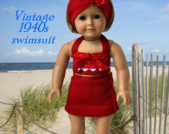 Pixie Faire Eden Ava Couture 1940s Vintage Swimsuit Doll Clothes Pattern for 18 inch American Girl Dolls - PDF