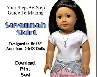 Pixie Faire Sew Urban Savannah Skirt Doll Clothes Pattern for 18 inch American Girl Dolls - PDF