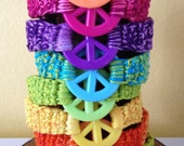 Peace Sign Bracelet, Hippie Costume, Preteen Teen Adult, Birthday Party Favor, Crocheted Friendship Bracelet, Music Festival, Love Happiness