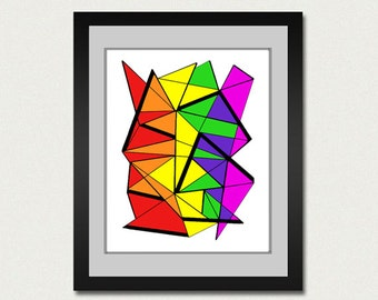 Abstract art print. Geometric print from original painting with rainbow colors.