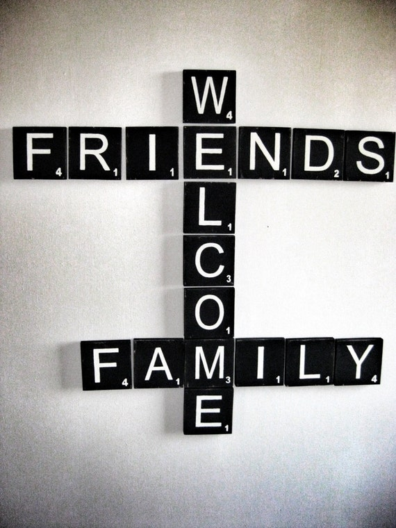Items Similar To Scrabble Wall Art Welcome Sign Welcome