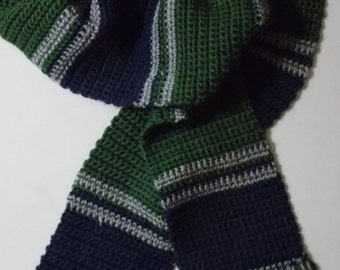 Green and Blue Striped Scarf (Made to Order)